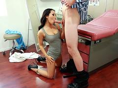 Asian girl Asa Akira slides his big dick into her mouth
