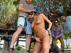 Hot euro babe Anissa Kate sucks that dick in public
