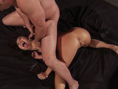 Asian slut Asa Akira receives three facial cumshots in an orgy