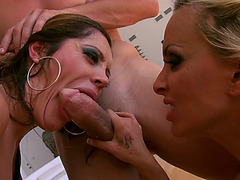 Holly Halston and Francesca Le sucking huge cock in threesome