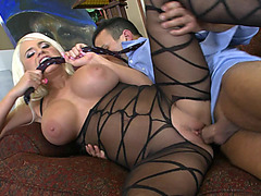 Jacky Joy wearing amazing nylon body getting her pussy pounded by a thick cock