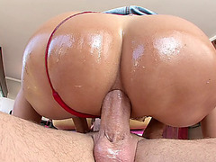 Tara Holiday plants her thick ass on his cock and rides anal cowgirl style