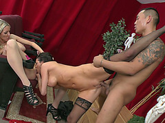 Two busty ladies Veronica Avluv and Emma Starr getting fucked in threesome