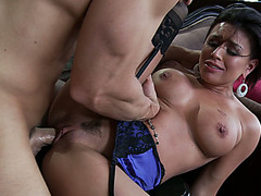 Slutty wife Eva Angelina getting slides it all the way into her pussy