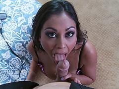 Hot Indian MILF Priya Rai sucks, strokes and titfucks his cock