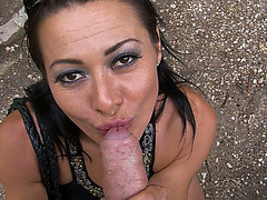 Hot euro MILF Sandra Romain sucking his cock outdoor
