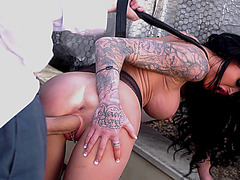 Long haired chick Stacey Lacey loves his huge rod stretching her cunt