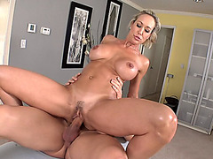 Busty mom Brandi Love rides his cock while up on top