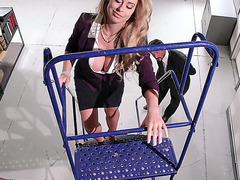 Corinna Blake gets licked while on the ladder
