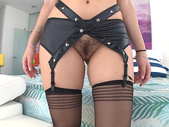 Valentina Nappi in stockings shows us her hairy pussy
