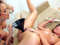 Nadia Styles and Danica Dillon playing with bottle
