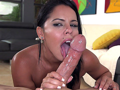 Amazing raven Diamond Kitty is hungry for a big fat cock