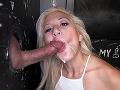 Cristi Ann takes facial from the gloryhole