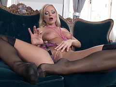 Legendary blonde Silvia Saint plays with her amazing body