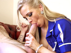 Rebecca More got down on her knees to suck his big shaft