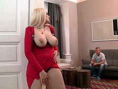 Big tits blonde Angel Wicky caught jerking off like a pervert