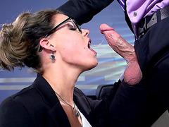 Psychiatrist with glasses Peta Jensen gets her face fucked