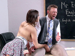 Busty schoolgirl Ashley Adams can't live without her teacher's cock