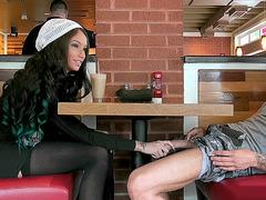 Brunette babe Raven Bay going naughty in a restaurant
