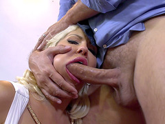 Busty balls licking blonde Savana Styles drooling on a dick