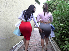 Two classy babes Spicy J and Diamond Kitty show their big asses