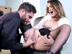 Classy cutie Dillion Harper eaten out and tit licked