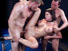 Big tits slut Peta Jensen oiled up and fucked by masseurs