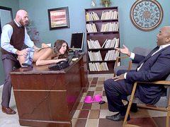 Canadian babe August Ames fucked over an office desk for an audience