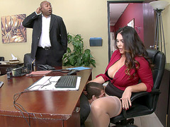 Alison Tyler gets eaten out in her office chair by a stud