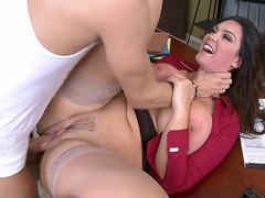 Office babe Alison Tyler gets face fucked and pounded on a table