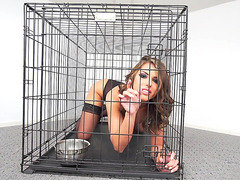 Caged pornstar Adriana Chechik gets a toy to play with