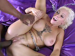 Tattooed blonde beauty Harlow Harrison slammed with black monster cock