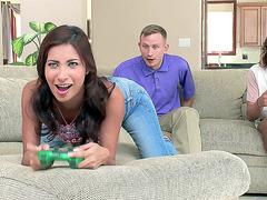 Curious Latina teen Jade Jantzen jacks off two gamers