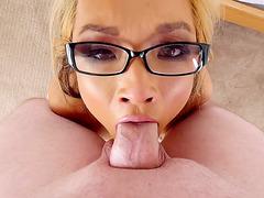 Nerdy blonde porn star Mia Rider gets her throat fucked POV