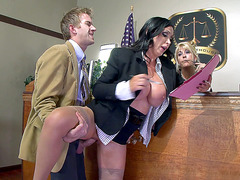Ukrainian mom Nikki Benz gets fucked in a courtroom by Danny D