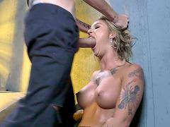 Tattooed blonde slut Kleio Valentien face fucked against the wall