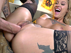 Tattooed blonde whore Kleio Valentien stuffed with a fat cock