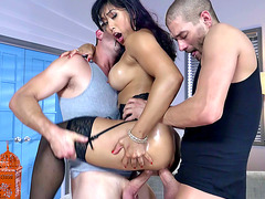 Busty Asian chick in stockings Mia Li dying for a double penetration