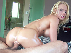 Oiled up blonde Alix Lynx riding dick instead of giving a massage