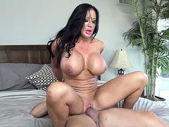 Brunette with giant boobs Sybil Stallone sliding on a hard schlong