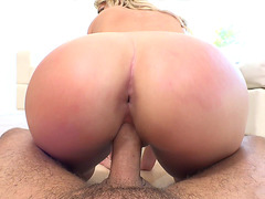 Appetizing blonde Cherry Morgan ass spanked while riding dick