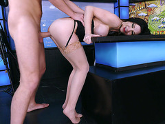 Big tits babe Kendall Karson fucked by a horny news anchor