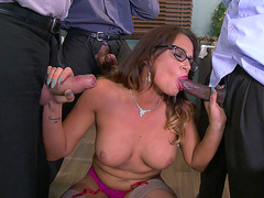 Tory Lane lets loose with an three dick blow bang