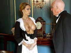 Big tits maid Erica Fontes gets involved in a high class scandal