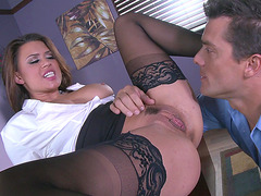 Enticing office babe Eva Angelina licked by her employee