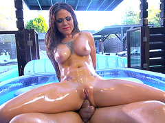 Slathered in oil Karmen Karma has no choice but to fuck