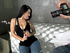 Katrina Jade uses her old camera to strip a tattooed stud