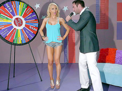 Game show host gets blonde Alix Lynx to strip
