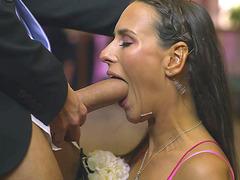 Classy Czech brunette Mea Melone sucks dick during a wedding