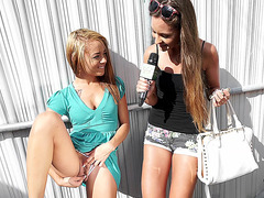 Little blonde Holly Hendrix rubs her pussy for cash in public